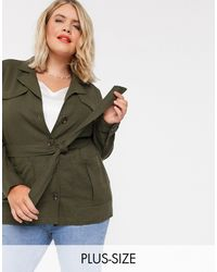 Simply Be Belted Utility Jacket - Green