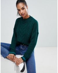 Boohoo - Cable Knit Jumper In Green - Lyst