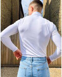 ASOS Top col roulé moulant en jersey - Blanc