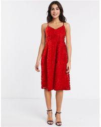 Vila Applique Midi Skater Dress - Red