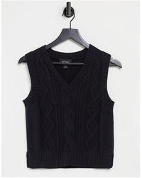 Monki Salina - Gebreid Sweaterhemdje Van Organisch Katoen - Zwart