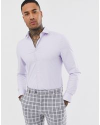 ASOS Сиреневая Строгая Фактурная Рубашка Облегающего Кроя - Пурпурный