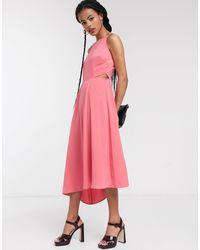 Warehouse Vestido midi rosa con espalda descubierta y aberturas