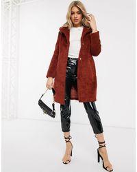AX Paris Плюшевое Пальто -оранжевый - Многоцветный