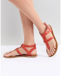 Warehouse - Leather Toe Post Sandals - Lyst