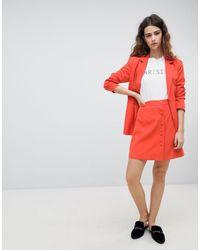 UNIQUE21 Unique 21 Button Front Mini Skirt Two-piece - Orange