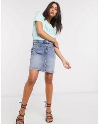 B.Young Button Down Denim Mini Skirt - Blue