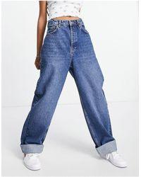 TOPSHOP - Голубые Выбеленные Oversized-джинсы Из Органического Смесового Хлопка В Винтажном Стиле -голубой - Lyst