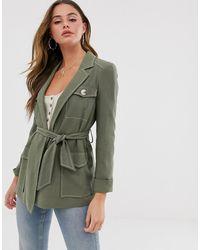 Miss Selfridge Longline Utility Jacket - Green