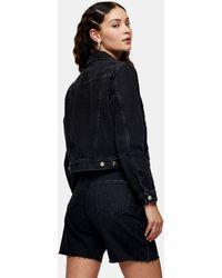 TOPSHOP Короткая Джинсовая Куртка Черного Выбеленного Цвета -черный Цвет