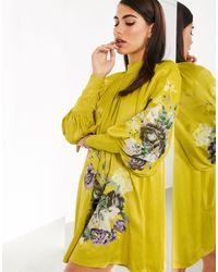 ASOS Robe trapèze courte brodée en satin - Jaune