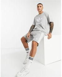 adidas Originals Dh5803-3 Stripe Shorts - Grey