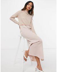 River Island Розовое Атласное Платье-комбинация Миди С Верхней Частью В Виде Джемпера -розовый Цвет
