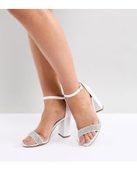 New Look - Wide Fit Embellished Strap Block Heel Sandal - Lyst