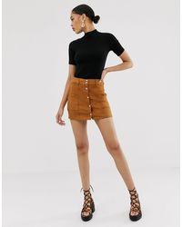 Bershka Mini-jupe boutonnée - Fauve - Marron