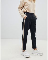 ASOS Tapered Trousers With Camel Contrast Side Panel - Black