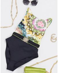 River Island Scarf Print High Neck Swimsuit - Yellow