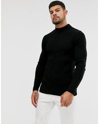 ASOS Muscle Fit Ribbed Turtle Neck Sweater - Black