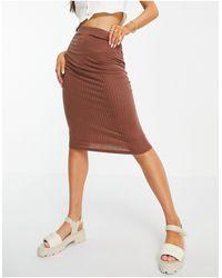 ASOS Midi Pencil Skirt - Brown