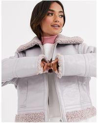 ASOS Виниловая Байкерская Куртка С Искусственным Мехом - Пурпурный