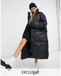 Collusion Longline Puffer Jacket - Black