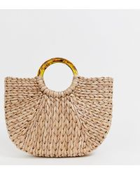 South Beach Exclusive Half Moon Straw Bag With Tortoiseshell Handle - Natural