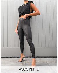 ASOS Asos Design Petite Leather Look legging With Pintuck - Black