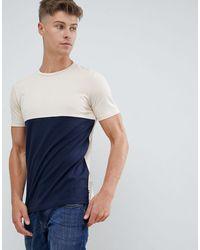 Produkt T-shirt With Colour Block Panel - Blue