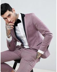 Noose And Monkey Super Skinny Tuxedo Suit Jacket - Purple