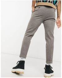 ASOS Tapered Wool Mix Smart Trousers With Turn Up - Brown