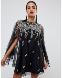 ASOS - Mini Dress With Heavily Embellished Cape - Lyst