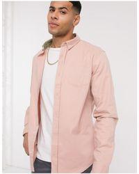 Brave Soul Long Sleeve Twill Shirt - Pink