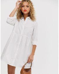 ASOS - Белое Хлопковое Свободное Платье-рубашка Мини - Lyst