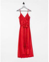 Liquorish Satin Midi Cami Dress - Red