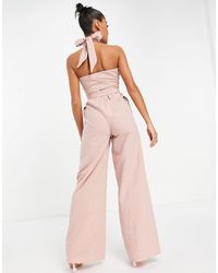 Missguided Wide Leg Wrap Jumpsuit With Tie Neck - Pink
