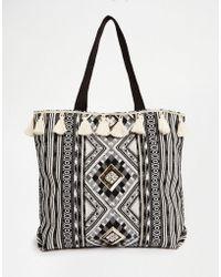 New Look - Tassel Printed Shopper Bag - Black - Lyst