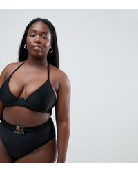 Wolf & Whistle - Curve Exposed Cradle Bikini Top In Black - Lyst