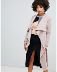 Missguided - Waterfall Coat In Camel - Lyst