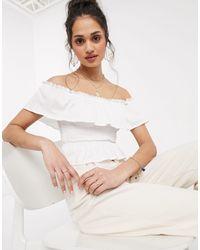 Miss Selfridge Shirred Bardot Top - White