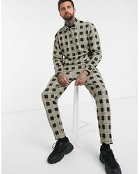 ASOS – Karierter Trainingsanzug aus Polyester mit Harrington-Jacke und Jogginghose - Mehrfarbig