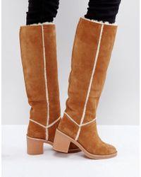 UGG - Kasen Tall Heeled Knee Boots Chestnut - Lyst