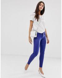 Vila Faux Leather Trousers - Blue