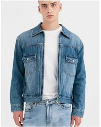 Weekday Giacca di jeans con zip blu indaco