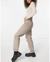 ASOS - Серо-коричневые Свободные Джинсы В Винтажном Стиле С Завышенной Талией И Рваной Отделкой На Коленях - Lyst