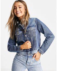 Miss Selfridge Contrast Denim Jacket - Blue