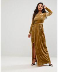 Club L - Tie Front Wrap Detail Maxi Dress - Lyst