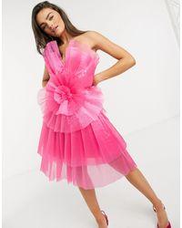 Forever Unique - Розовое Ярусное Платье Мини Из Тюля С Оборками -розовый Цвет - Lyst