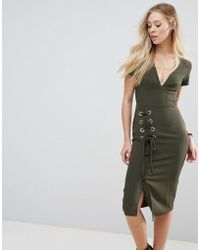 ASOS DESIGN - Asos Midi Dress With Lace Up - Lyst
