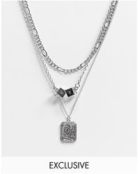 Reclaimed (vintage) Inspired Multirow Necklace With Mixed Chains And Charms - Metallic