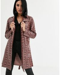 Blank NYC - Snake Print Patent Trench Coat-brown - Lyst